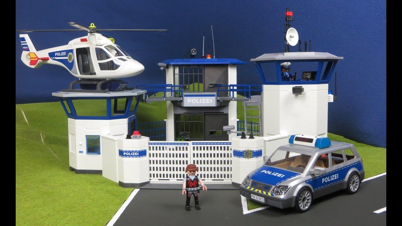 Playmobil en fran ais commissariat de police avec prison - Caserne de police playmobil ...