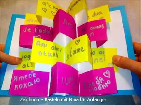 Diy 3d Karte Ich Liebe Dich In Verschiedenen Sprachen Bastelideen