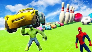 SUPERHERO COLOR LONG CARS & Helicopter Cartoon for Babies and Kids Spiderman Nursery rhymes