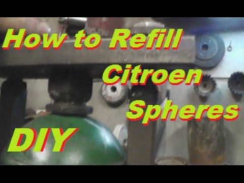 DIY How To Refill Citroen Xantia  BX XM C5  Shock Absorber Spheres , Sphere Recharging .