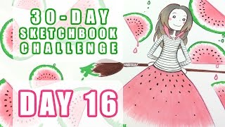 watermelon dress sketchbook challenge day 16