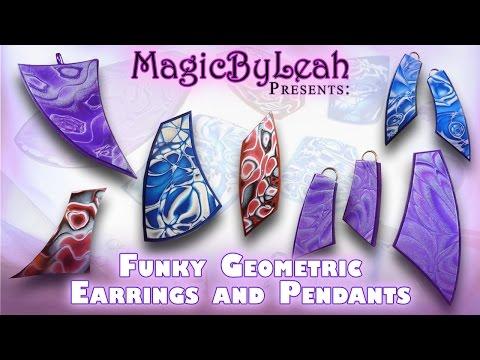 Funky Geometric Polymer Clay Jewelry Pendants and Earrings