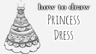 DIY Tutorial ♥ Ball Gown | Ballkleid ♥ Speed Drawing - Black & White Zentangle