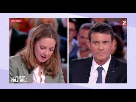 Charline Vanhoenacker offre une rose fanée à Manuel Valls - L'émission politique