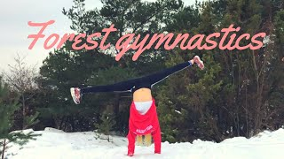 Gymnastics in the snowy forest!!