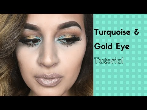 Turquoise & Gold Makeup Tutorial | Glossandtalk