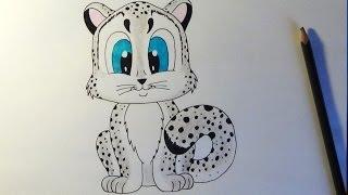 How to draw Cute snow leopard, Cómo dibujar un leopardo, Как нарисовать снежного леопарда