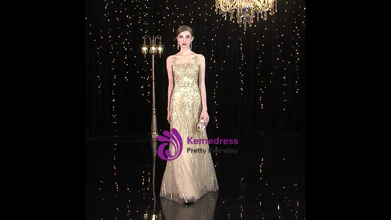 0ce40736030 kemedress A-Line Champagne Gold Tulle Sequins Long Mother Of The Bride  Dresses