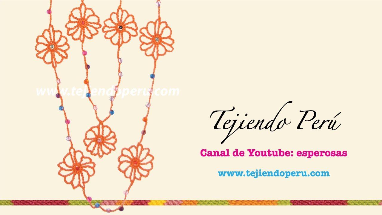 Cómo tejer un collar con flores a crochet con cuentas o abalorios ...