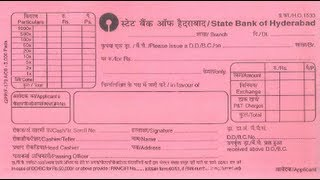 In-How to fill DD form for of State Bank of Hyderabad