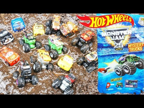 Muddy Monster Jam Mini Trucks Launch and Race Grave Digger Mutt Toro Loco Vs Disney Cars 3