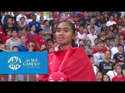 Athletics Womens 5000m  Final Victory Ceremony (Day 4 afternoon)   28th SEA Games Singapore 2015  
