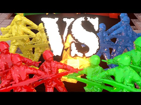 Minecraft | RED vs BLUE vs GREEN vs YELLOW ARMY SOLDIERS CHA