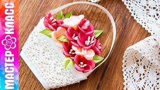 Cesta de flores kanzashi por Kulikova Anastasia