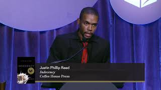 Author of Indecency Justin Phillip Reed accepts the 2018 National Book Award for Poetry