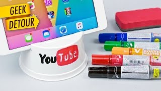 DIY iPhone 6 Stand & iPad Stand: very cheap stand with disposable plastic bowl
