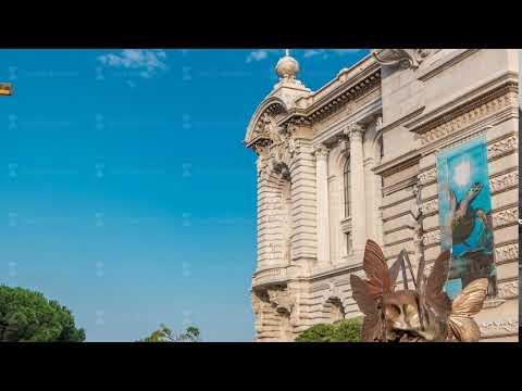 View of the Oceanographic Museum in Monaco timelapse