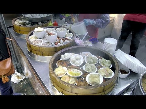 Hong Kong Street Food. Shanghai Style Rice Roll, Cooked Tofu, Dim Sum, Chinese Bread