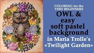OWL and easy soft pastel background / Coloring  in 'Twilight Garden' / Раскраска