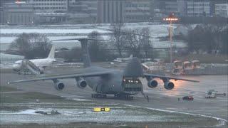 [HD] USAF Lockheed C-5M Galaxy - opening / closing cargo door at Zurich Airport - 16/01/2016