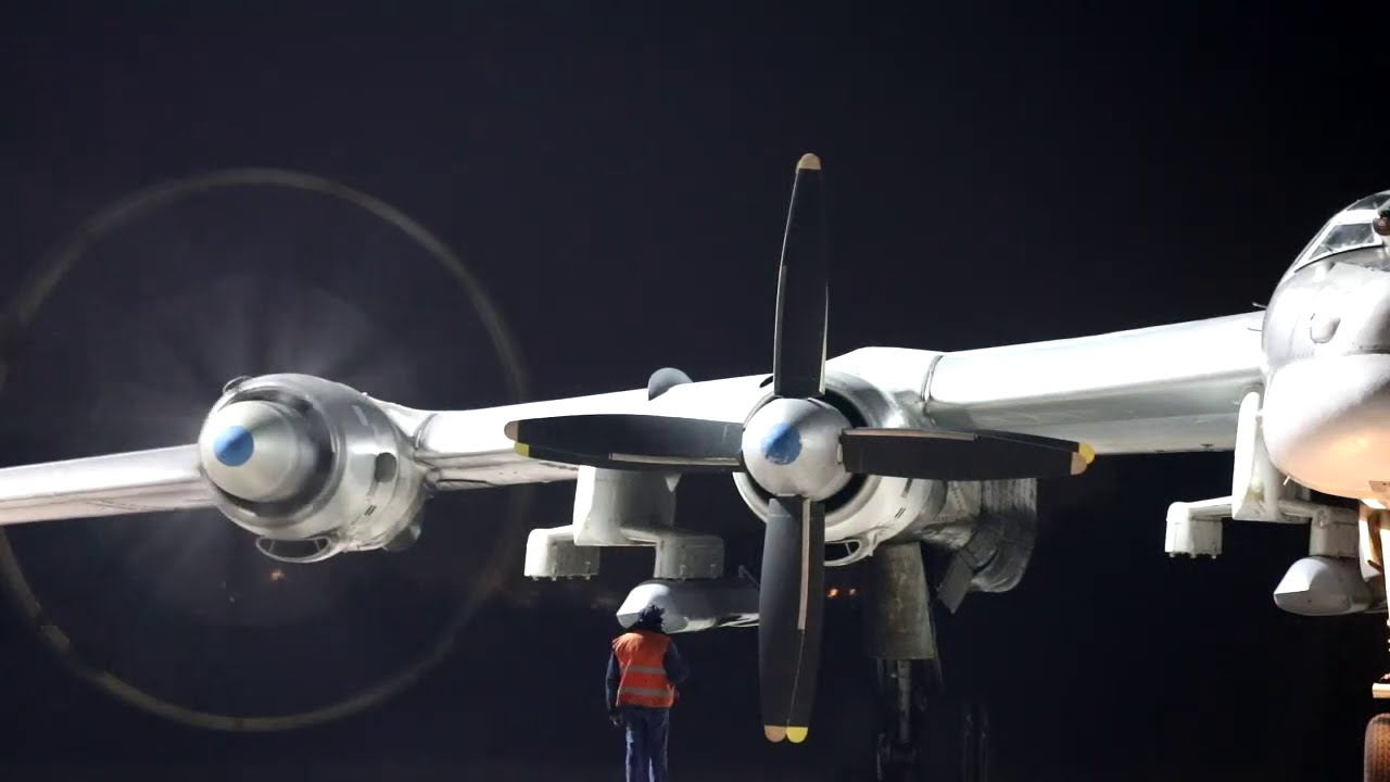 Russian Aerospace Forces IL-78 and Tu-95MS exercise night time in-air refueling
