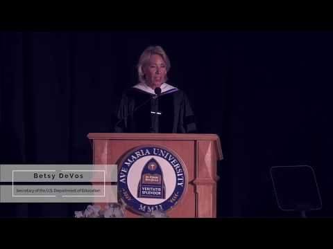 President Towey Introduces US Secretary of Education, Betsy DeVos at 2018 Commencement