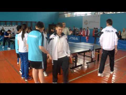 Всемирные игры юных соотечественников в Сочи. Команда Италии. Пинг-понг.