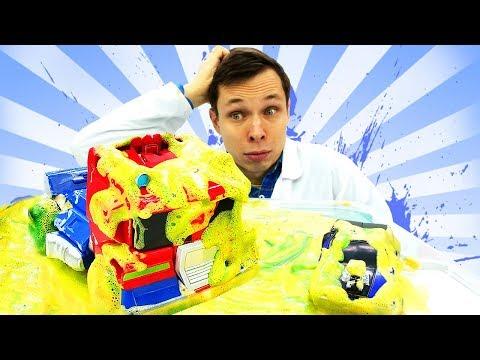 Трансформеры  и игры для детей – Оптимус в разноцветной пене!