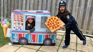 Police Pizza Delivery to Ice cream Truck!! Kids pretend play 2