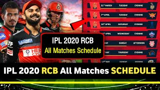 IPL 2020 - RCB All Matches Full Schedule   Royal Challengers Bangalore 2020 IPL