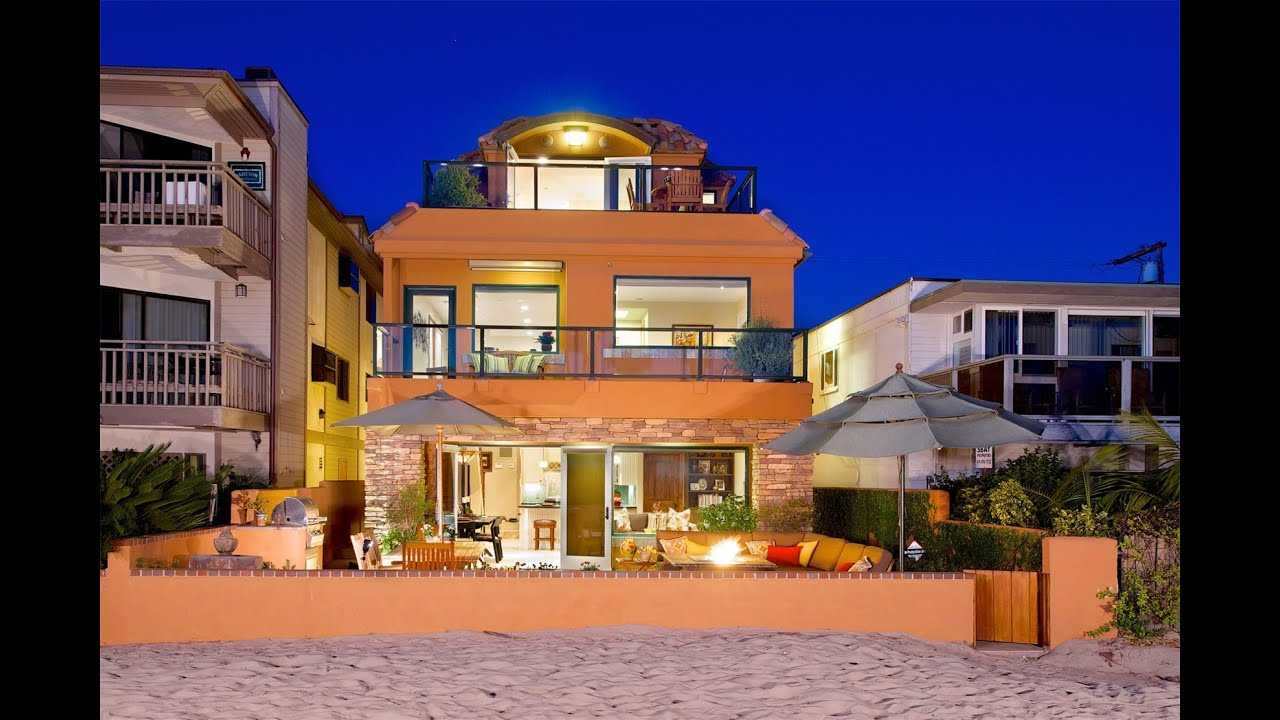 Sunny beachfront home in san diego california youtube - Beachfront houses in california ...