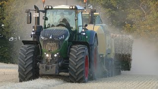 Fendt 1038 Vario Going Fast in The Field Baling w/ Krone HighSpeed & Injecting Slurry w/ Samson PG28