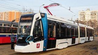 Первый день работы трамвая БКМ-Stadler-85300М на 17 маршруте