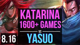 KATARINA vs YASUO (MID) ~ 1600+ games, KDA 17/2/9, Legendary ~ Korea Diamond ~ Patch 8.16