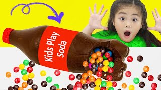 Annie and Suri Pretend Play Chocolate and Soda Challenge | Kids Eat Healthy Food vs Junk Food