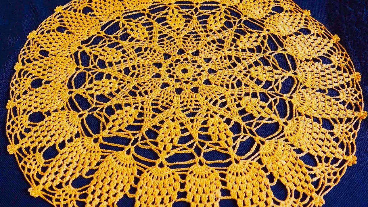 Салфетка крючком по схеме. Вязание салфетки. Ажурная салфетка. Часть 5. (Crochet napkin. P. 5)