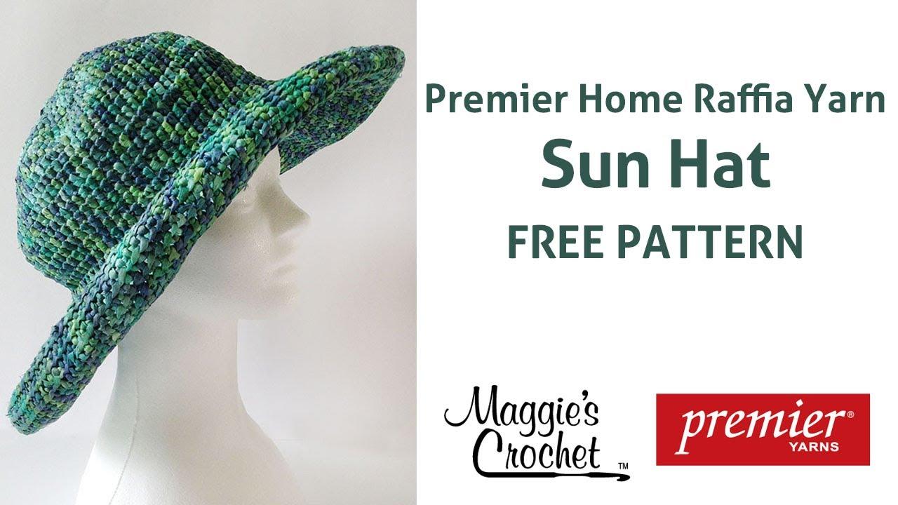 Raffia Sun Hat Free Crochet Pattern - Right Handed - YouTube