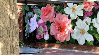Louise Jones painting flower mural