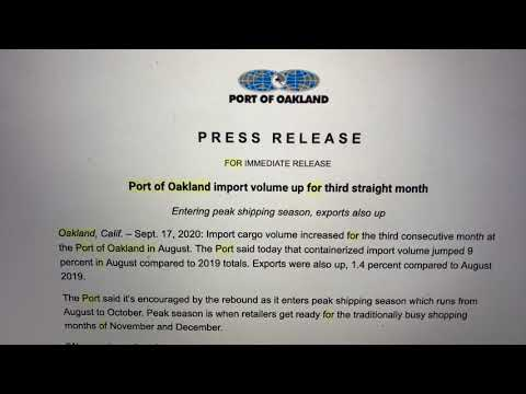 Port Of Oakland Import Volume Up 3rd Straight Month In 2020