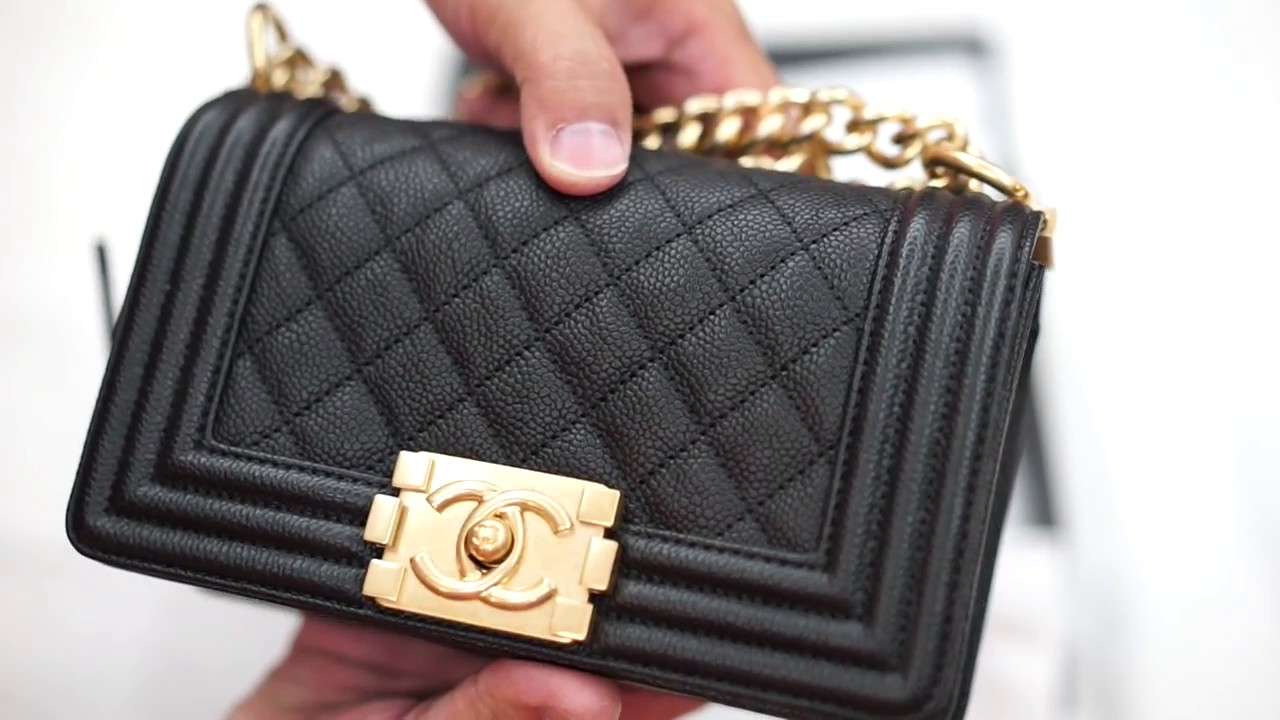 Chanel Small Boy bag of black caviar leather - YouTube 706a661bf360