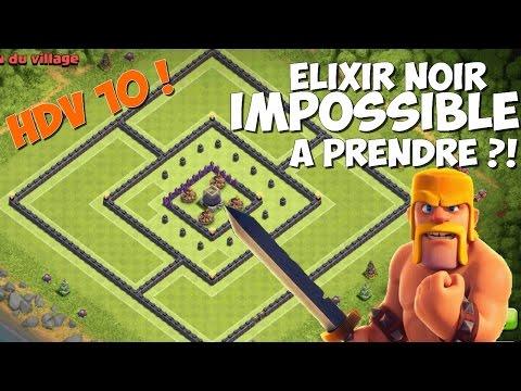 Base farming HDV 10 | 2016 | Elixir noir TOTALEMENT IMPRENABLE ! | Clash of Clans