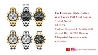 The permanent style:Golden hour luxury stainless steel man's watch, collection of six colors.