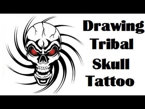 Tribal Skull Drawing