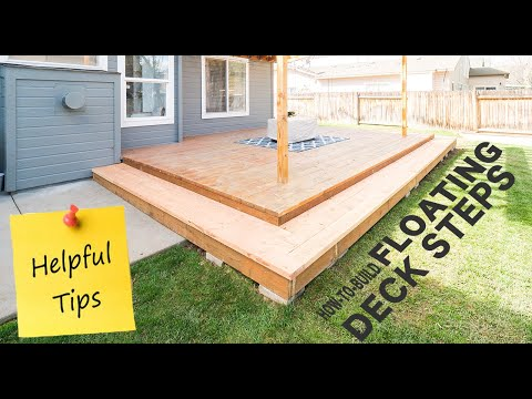 How To Build Steps For Floating Deck Youtube   Building Steps Off Deck   Staircase   Composite   Handrail   Woodworking   Stair Railing