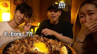 Korean Guys' First Time Trying Filipino Food (Sisig, Sinigang, Lechon Kawali)