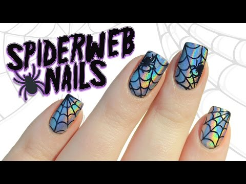 Holographic Chrome Powder Spiderweb Halloween Nail Art