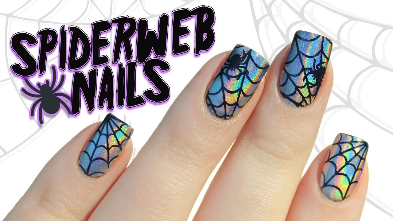 Holographic Chrome Powder Spiderweb Halloween Nail Art ...