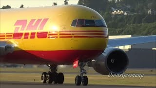 Repeat youtube video Boeing 767 Freighters UPS vs DHL UpClose Take Offs in Seattle