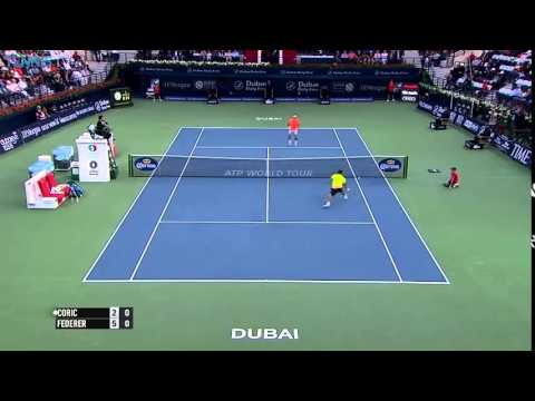 Roger Federer in the right spot v Borna Coric - ATP Dubai 2015