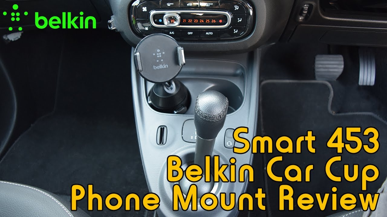 belkin car cup mount review installed into smart 453 youtube. Black Bedroom Furniture Sets. Home Design Ideas